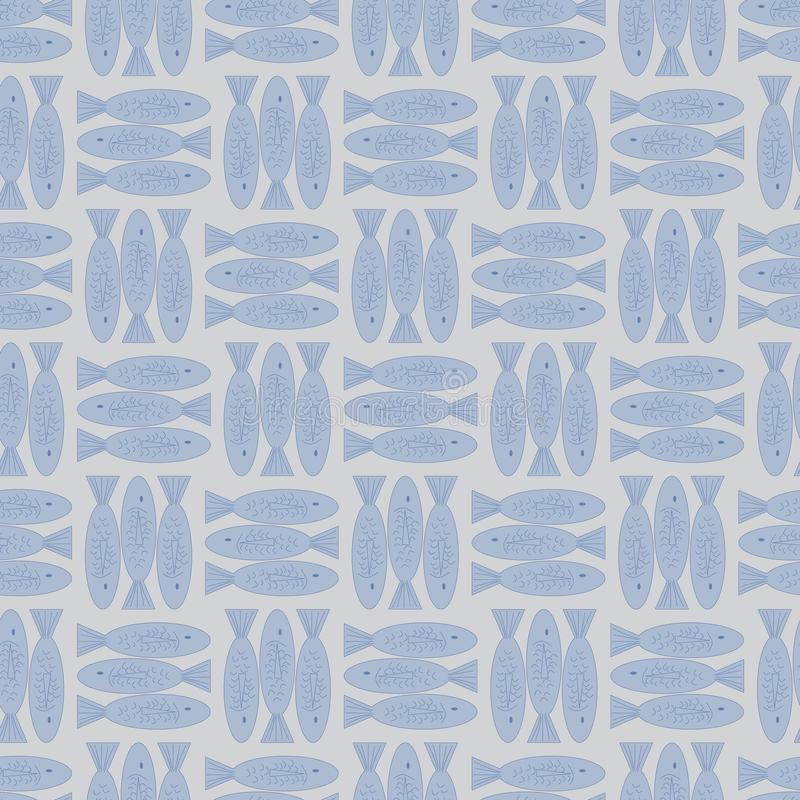 Vector Fish in Pastel Blue and Brown Seamless Repeat Pattern stock illustration