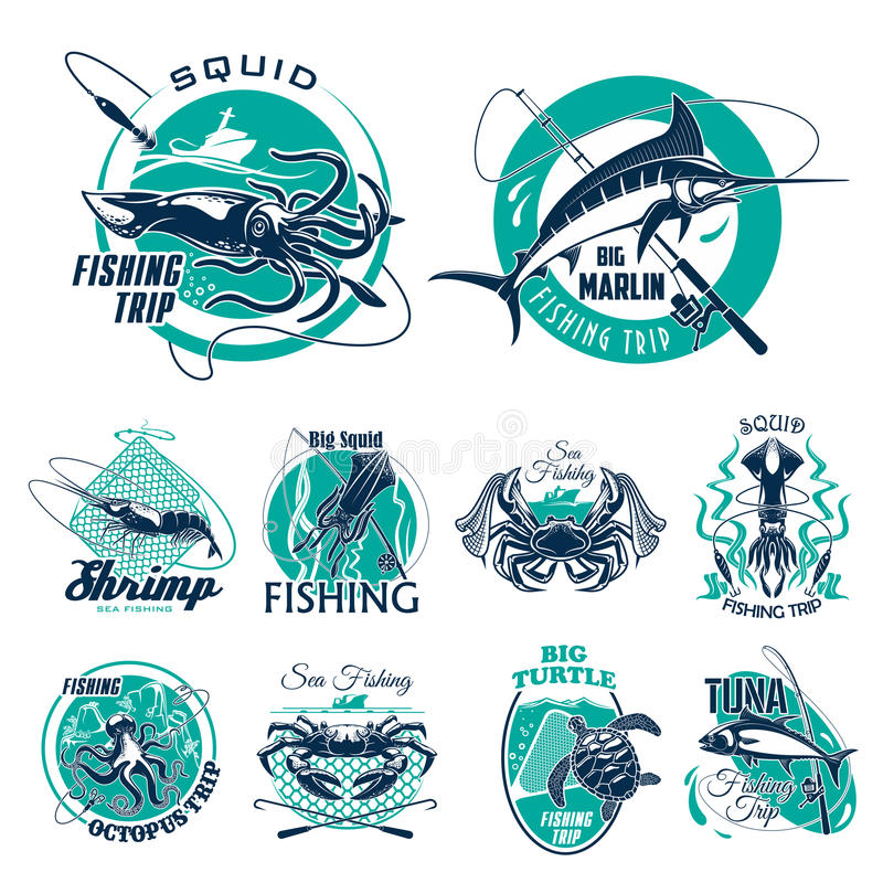 Vector Fish Symbols For Fishing Trip Icons Stock Vector