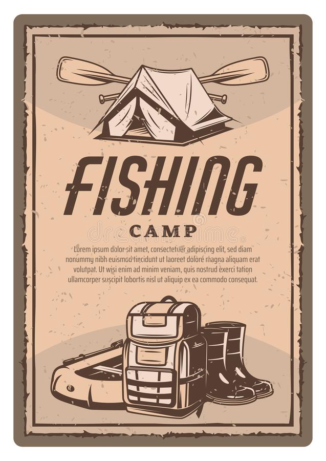 Vector fisher tent, boots and boat vintage poster vector illustration