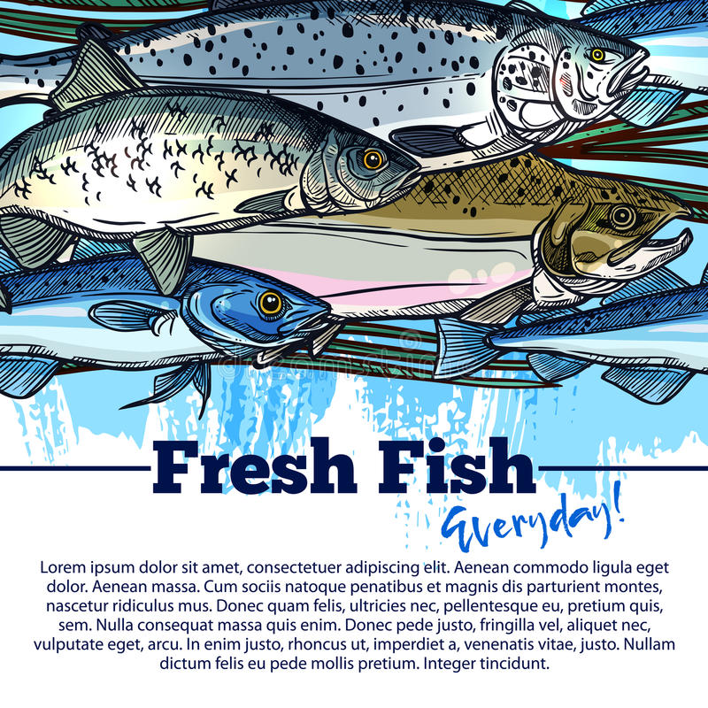 Vector fishing poster with fish catch. Seafood and fish catch poster. Vector design of fisherman salmon and tuna or herring and trout, pike and carp or flounder royalty free illustration
