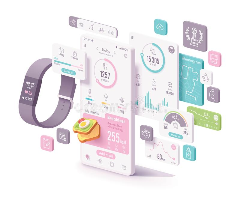 Vector fitness and diet app concept royalty free illustration