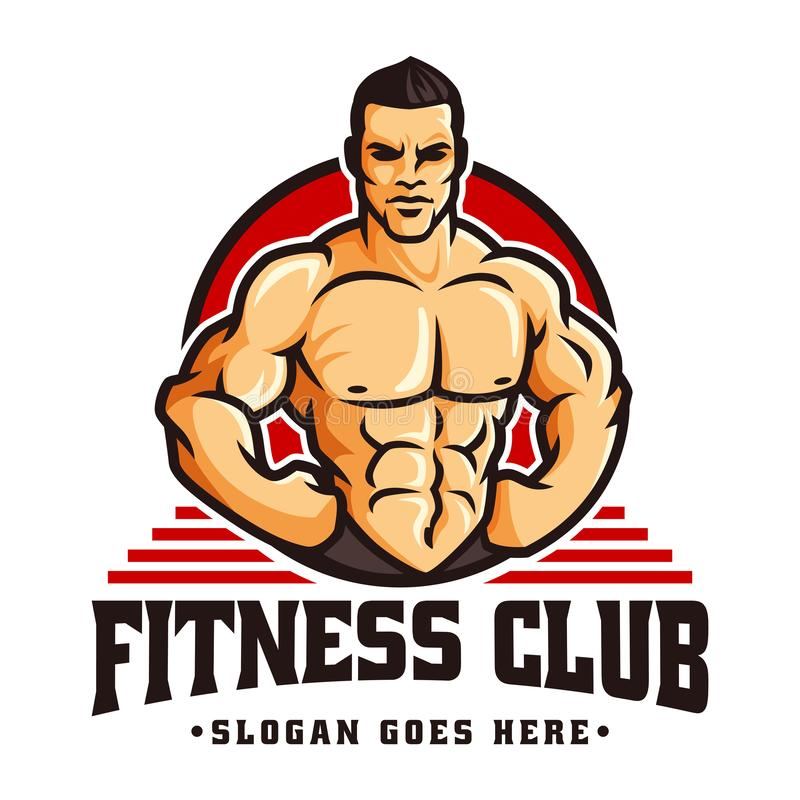 Vector of fitness gym or bodybuilder logo template, with muscle man character stock illustration