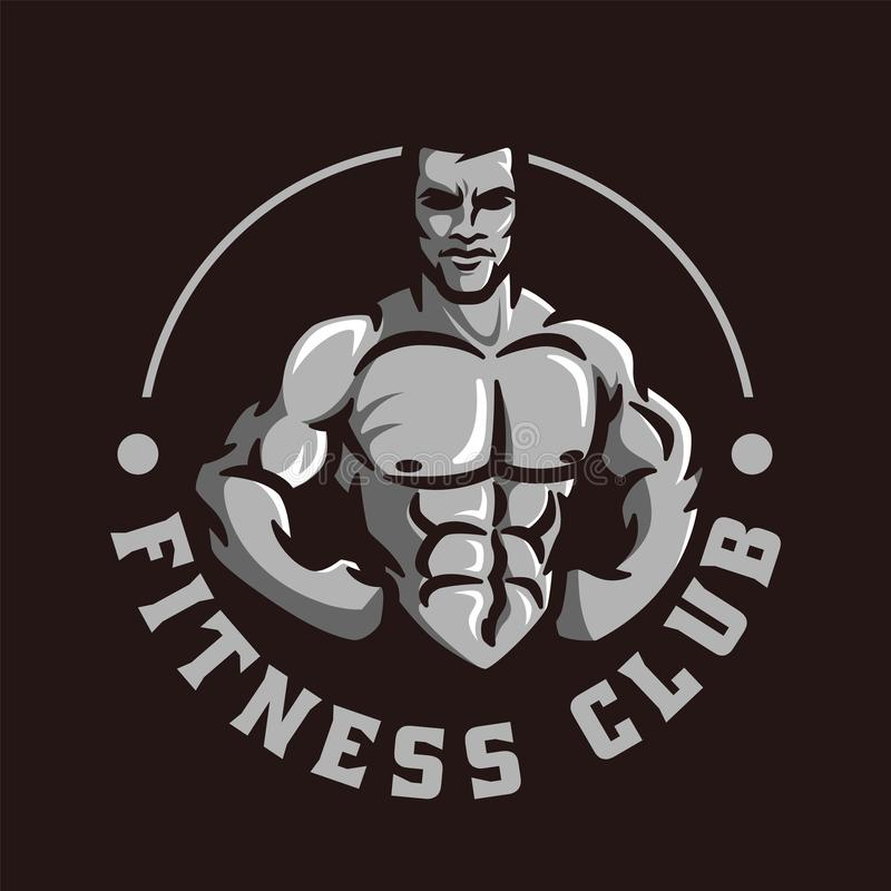 Vector of fitness gym or bodybuilder logo template, with muscle man character or mascot stock illustration