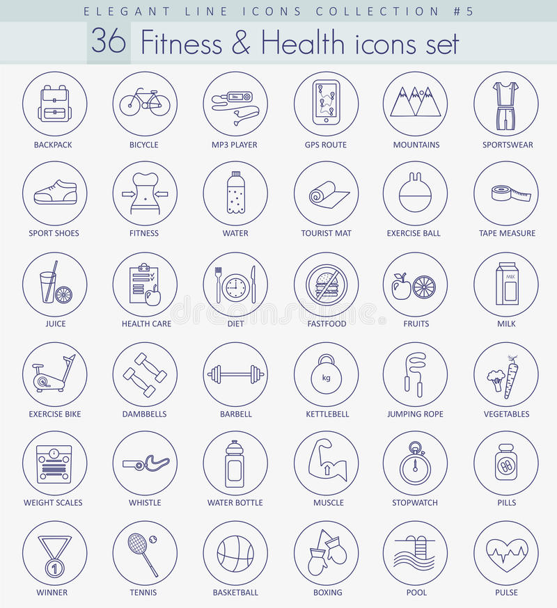 Vector fitness and health outline icon set. Elegant thin line style design royalty free illustration