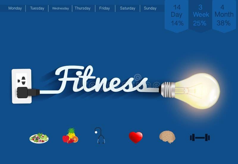 Vector fitness ideas concept creative light bulb design stock illustration