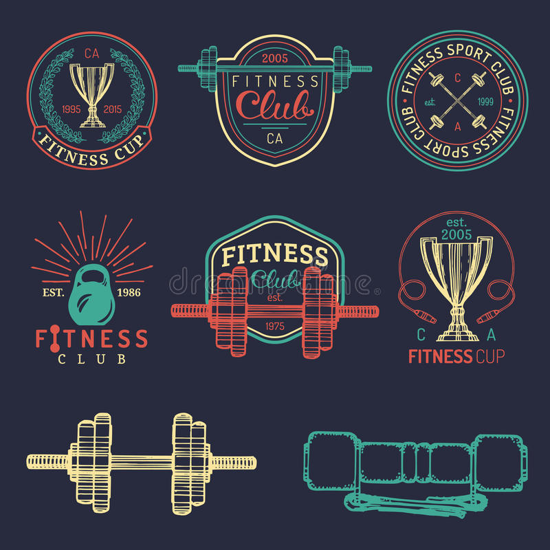Vector fitness logos set. Hand sketched athletic signs. Gym emblems illustration. Sporting club icons for badges etc. vector illustration