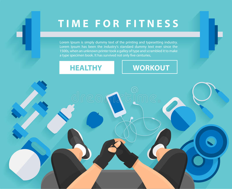 Vector fitness man workout in gym with equipment. Fitness man workout in gym with equipment background, Vector illustration layout template design vector illustration