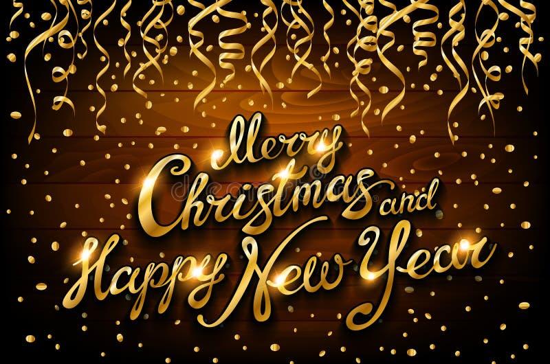 Vector flâmulas e confetes dourados no fundo de madeira do feriado ilustração stock