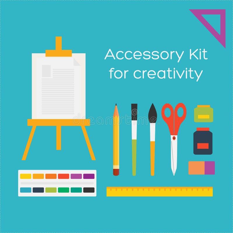 Vector flache Artbildungskunstwerkzeuge und -Schulbedarf lizenzfreie abbildung