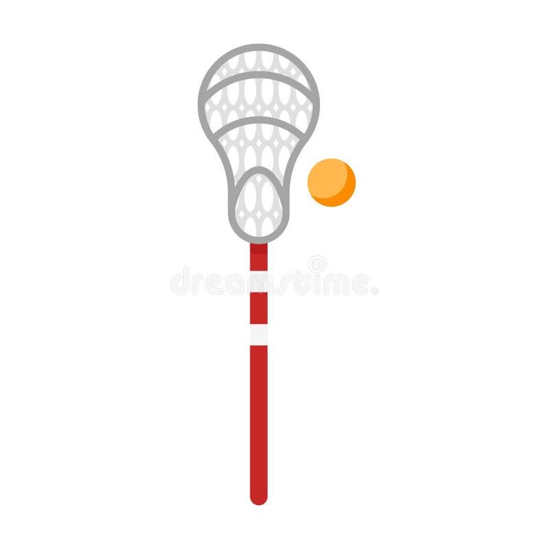 Vector flache Artillustration der Ausrüstung für Lacrossespiel lizenzfreie abbildung