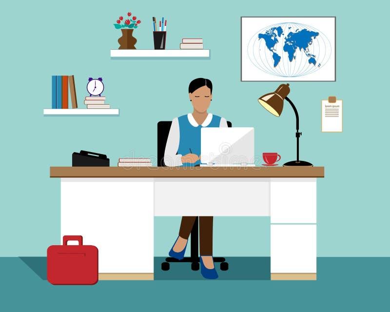 Vector flache Geschäftsfrau mit dem Laptop, der in ihrem Büro arbeitet lizenzfreie abbildung
