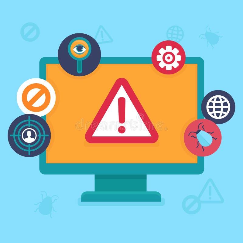 Vector flache Ikonen - Internet-Sicherheit und -virus lizenzfreie abbildung