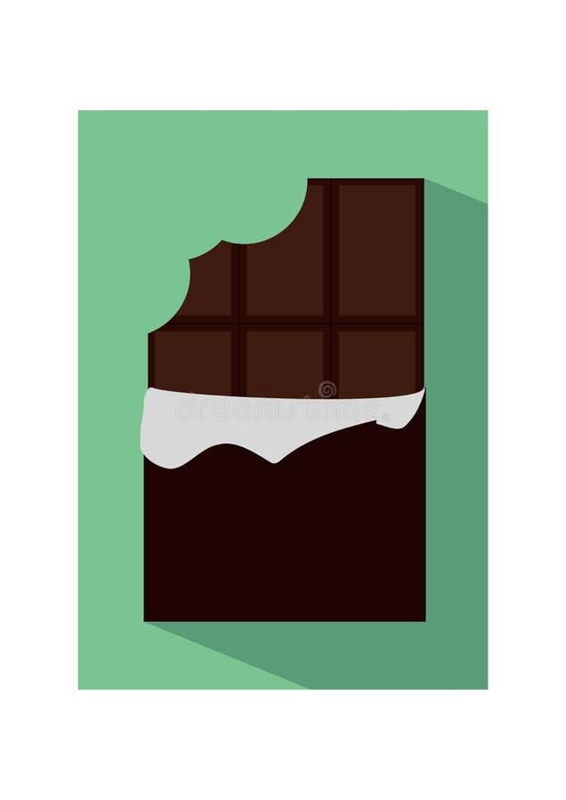 Vector flache Ikonenillustration der ungepackten gebissenen Schokolade stock abbildung