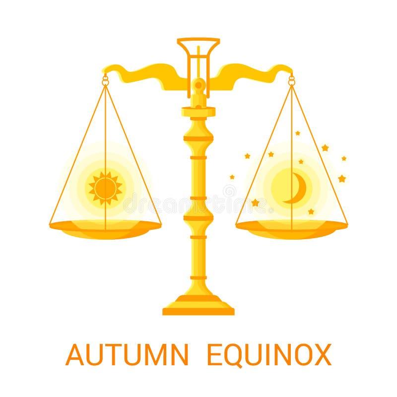 Vector flache Illustration des Herbstes oder des Falläquinoktikums lizenzfreie abbildung