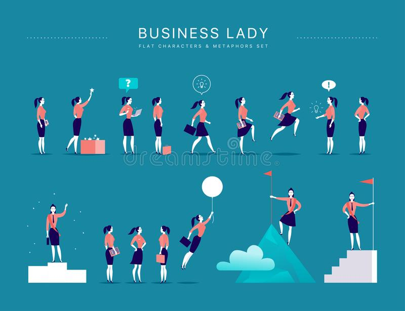 Vector flache Illustration mit den Geschäftsdamenbürocharakteren u. -metaphern, die auf blauem Hintergrund lokalisiert werden vektor abbildung