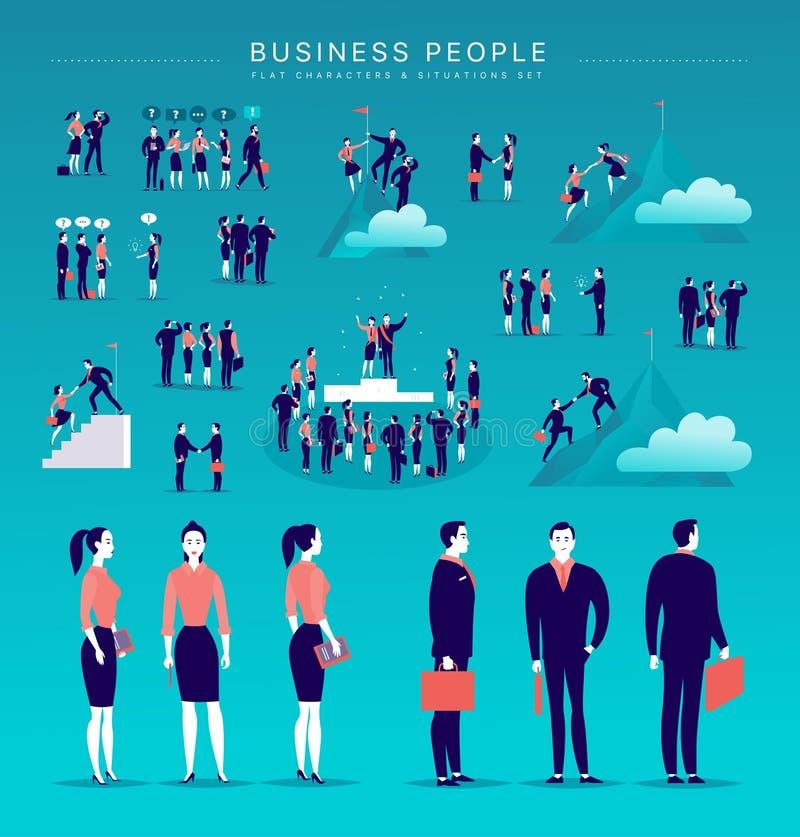 Vector flache Illustration mit Geschäftsleuten Bürocharakteren u. -metapher, die auf blauem Hintergrund lokalisiert werden stock abbildung
