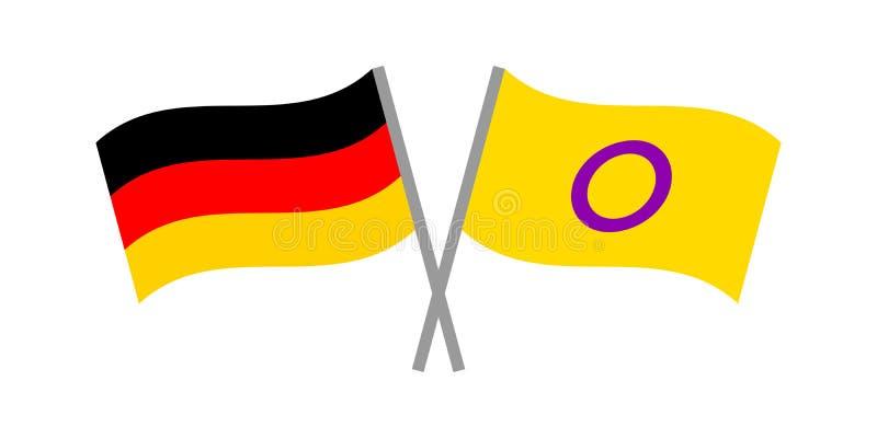 Vector flache Illustration mit intersex und deutschen Flaggen stock abbildung