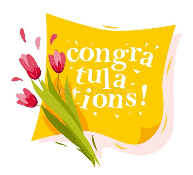 Vector flache Illustration von Frühlingsblumen und von gelber Glückwunschfahne stock abbildung