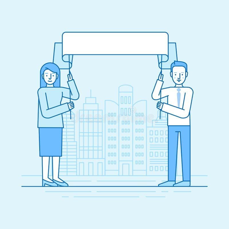 Vector flache lineare Illustration in den blauen Farben - Mann und Frau lizenzfreie abbildung