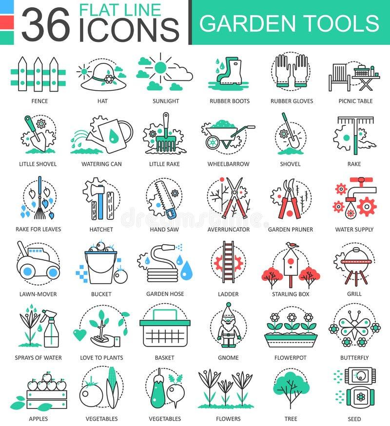 Vector flache Linie Entwurfsikonen der Gartenwerkzeuge moderne Farbfür apps und Webdesign stock abbildung
