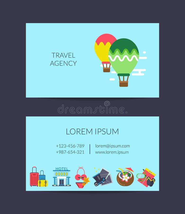 Vector flache Reiseelement-Visitenkarteschablone für Reisebüro lizenzfreie abbildung