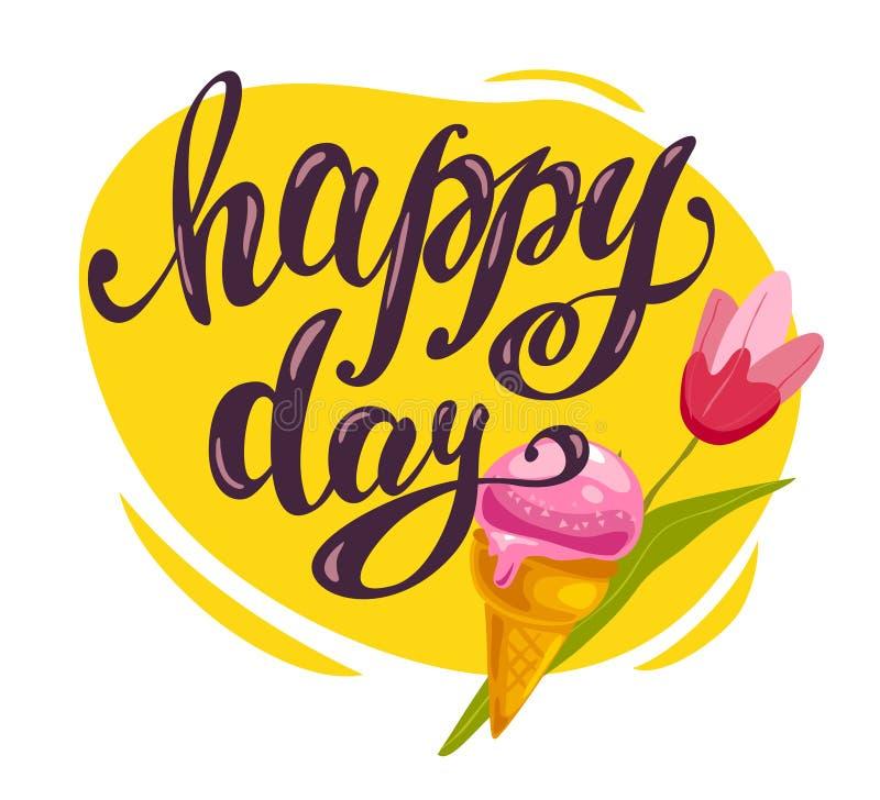 Vector flache Sammlung der geschmackvollen süßen Eistüte, Tulpe, der Hand gezeichnete Guss, der auf weißem Hintergrund lokalisier stock abbildung