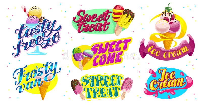 Vector flache Sammlung von Eiscreme-LKW, speichern Sie, Shop und Design van logo mit Beschriftung, Hand schriftlicher die Guss un lizenzfreie abbildung
