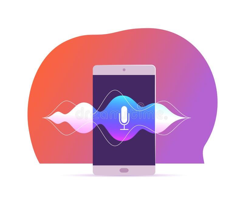Vector flache Spracherkennungsillustration mit Smartphoneschirm, dynamische Mikrofonikone auf ihm, Schallwellen, der lokalisierte stock abbildung