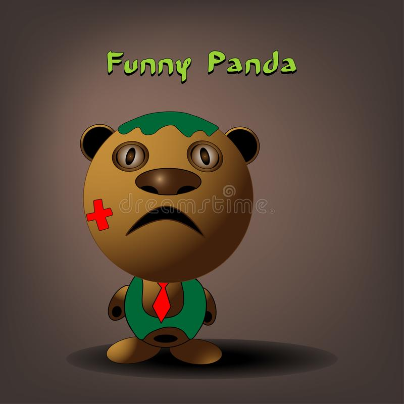 Vector flachen Artpandabärncharakter für Animation oder Kind-` s Buchillustration Netter Pandabär, der in den Bambusvorderteilen  stock abbildung