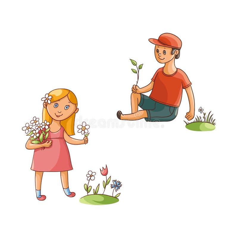 Vector flachen Jungen und das Mädchen, die Feldblumen sammelt stock abbildung