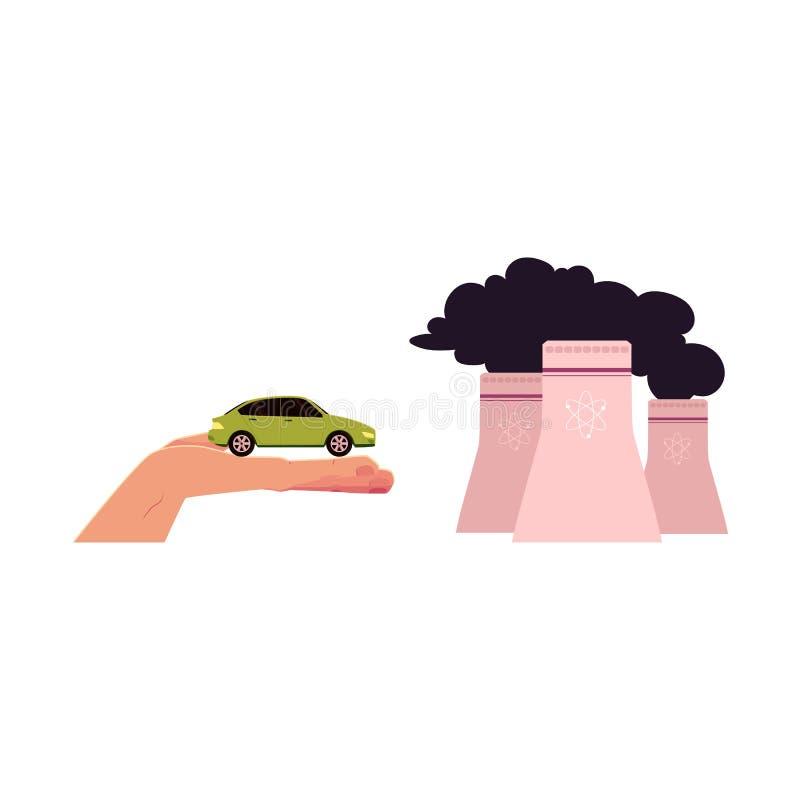 Vector flachen Kernreaktor, Auto in geöffneter Hand stock abbildung