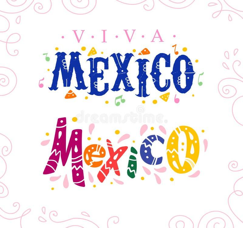 Vector flachen Satz Viva Mexiko-Beschriftungstext, der auf weißem Hintergrund mit Blumenrahmenverzierung und Hand gezeichneter Li stock abbildung