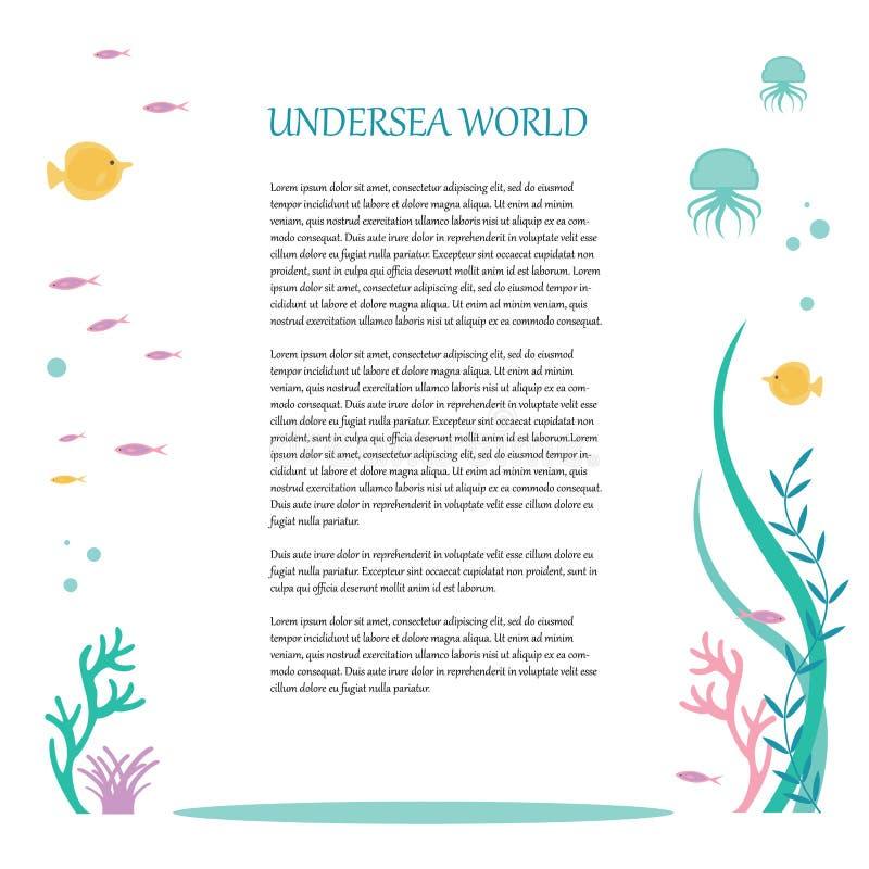 Vector flaches Design von Elementen die Unterwasserwelt Illustration der tiefen tropischen Flora und der Fauna Platz für Text stock abbildung