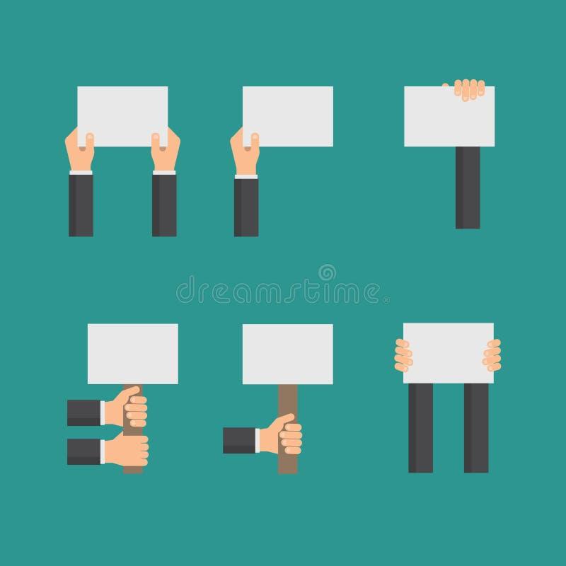 Vector flaches Geschäftskonzept mit den Händen, die leere Zeichen oder leeres Papier halten lizenzfreie abbildung