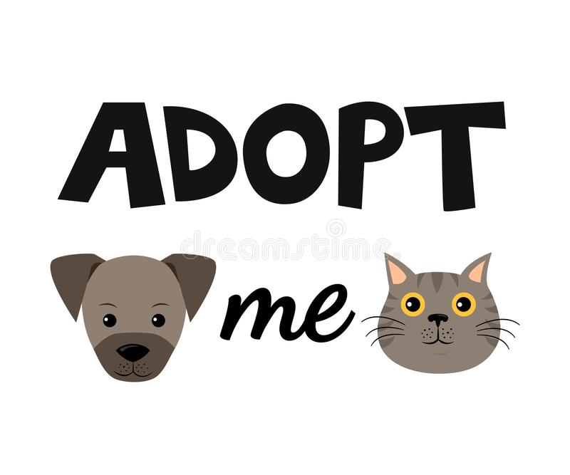 Vector flaches Karikaturhunde- und -katzenillustrationsikonendesign Nehmen Sie mich an Hilfsobdachloses Tierkonzept Lokalisiert a vektor abbildung