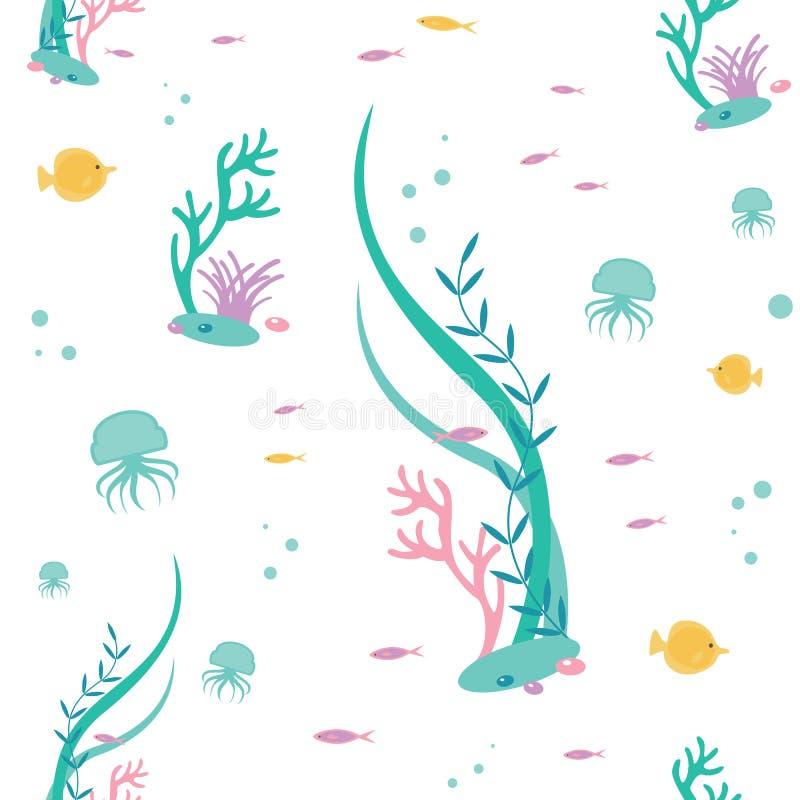 Vector flaches nahtloses Muster von Elementen die Unterwasserwelt Illustration der tiefen tropischen Flora und der Fauna vektor abbildung
