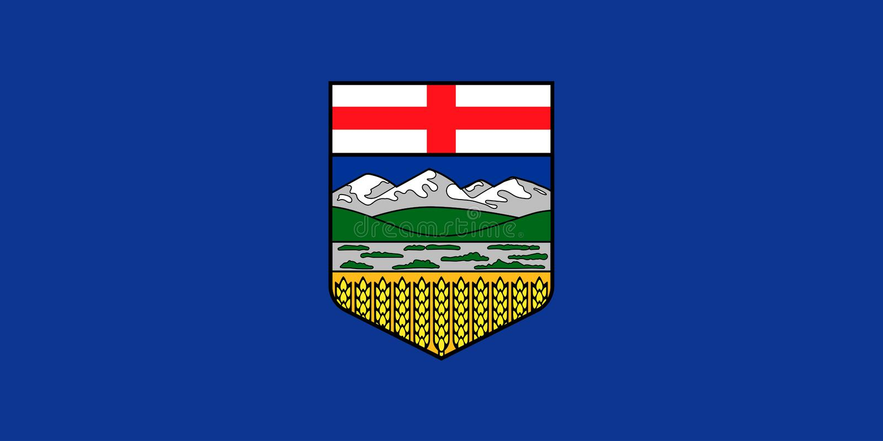 Vector flag of Alberta province Canada.Calgary, Edmonton.  royalty free illustration