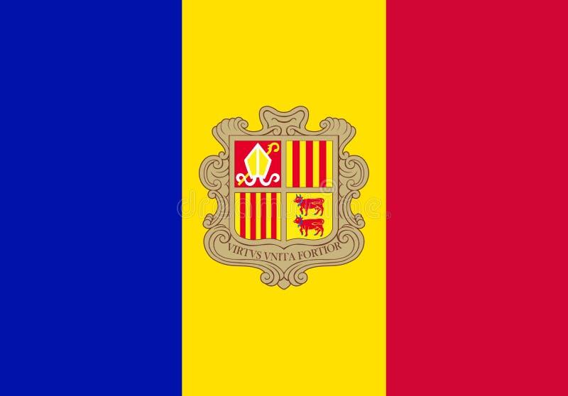 Andorra national flag. Vector illustration. Andorra la Vella vector illustration