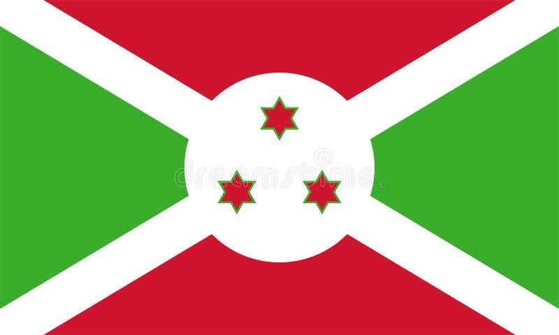 Vector flag of Burundi. Proportion 3:5. Burundian national flag. Republic of Burundi. vector illustration