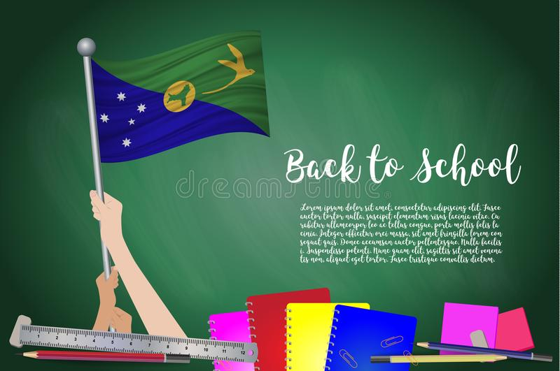Vector flag of Christmas Island on Black chalkboard background. Education Background with Hands Holding Up of Christmas Island fla royalty free illustration