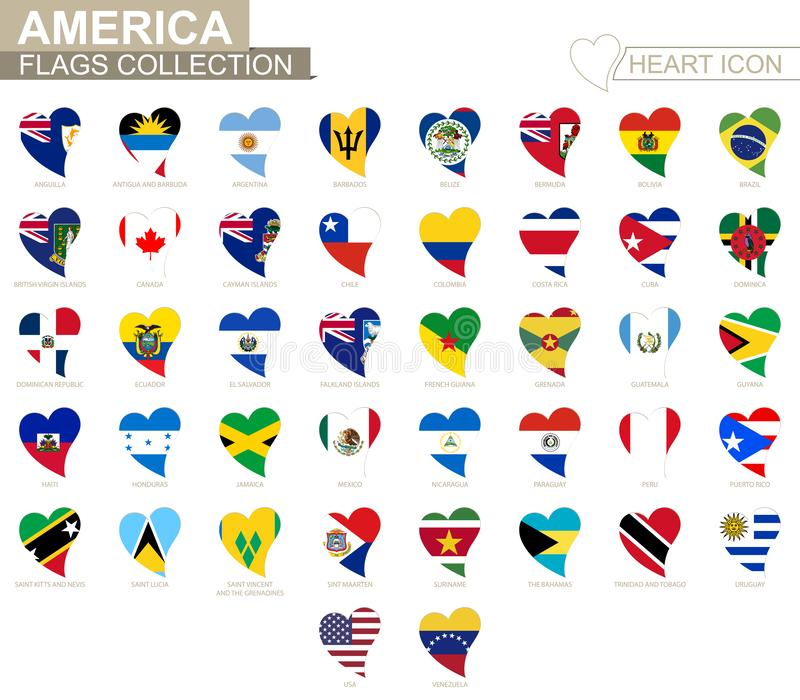 Vector flag collection of American countries. Heart icon set stock illustration