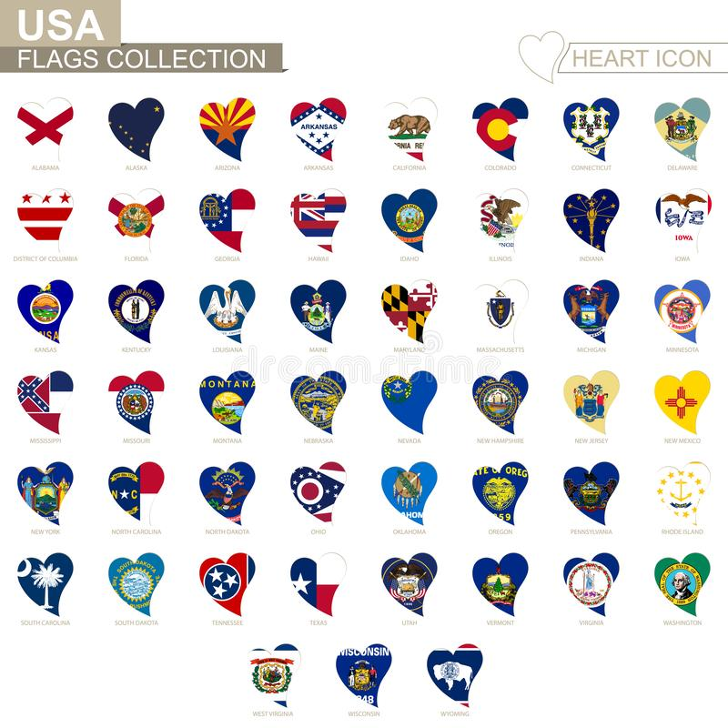 Vector flag collection of USA States. Heart icon set.  royalty free illustration