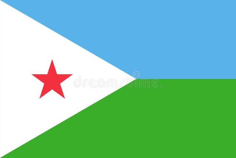 Vector flag of Djibouti. Proportion 2:3. Djiboutian national flag. Republic of Djibouti. vector illustration