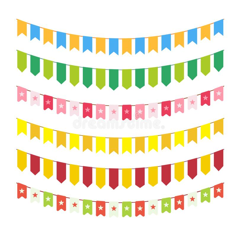 Vector flag garlands for invitation card design, carnival bright cordage and child adornments isolated on white background. Differ. Ent colorful bunting stock illustration