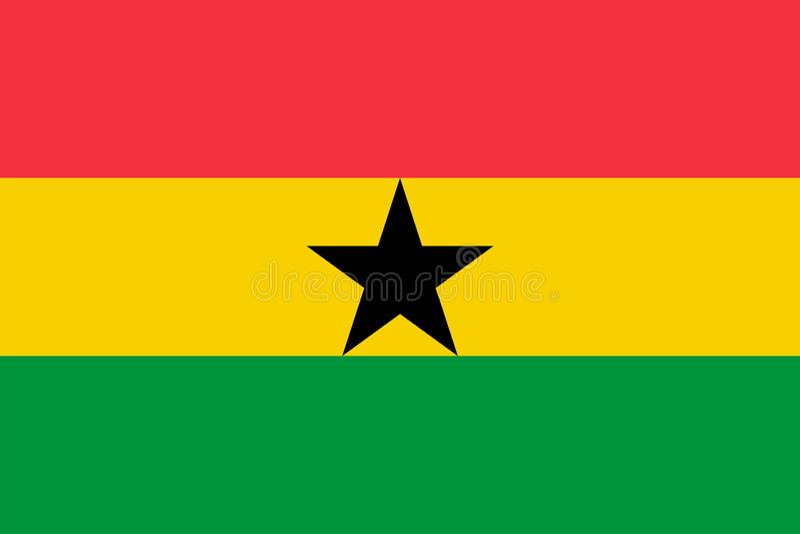 Vector flag of Ghana. Proportion 2:3. Ghanaian national flag. Republic of Ghana. stock illustration