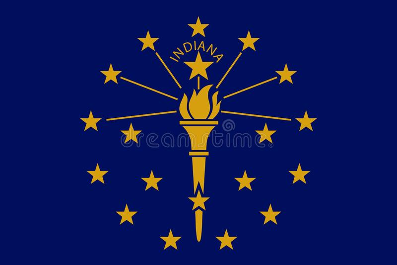 Vector flag illustration of Indiana state, Crossroads of America royalty free illustration
