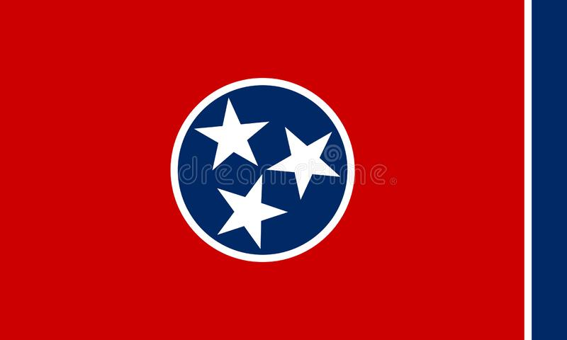 Vector flag illustration of Tennessee state, United States of America.  stock illustration