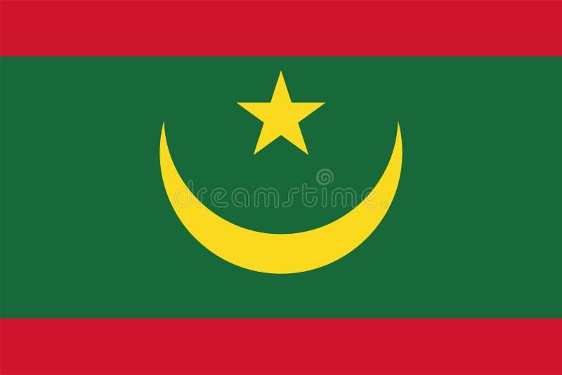 Vector flag of Mauritania. Proportion 2:3. Mauritanian national flag. Islamic Republic of Mauritania. vector illustration