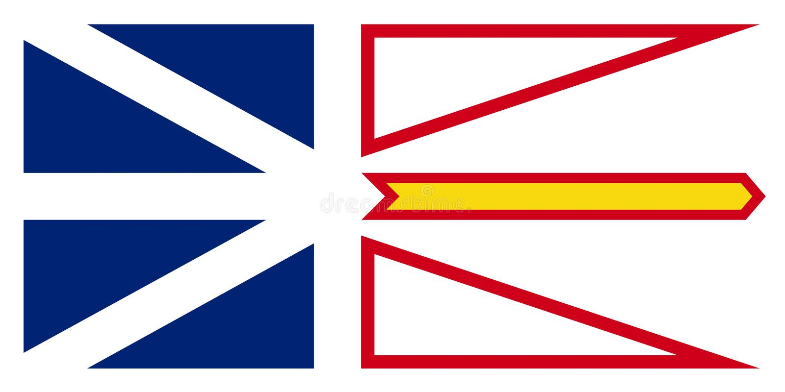 Vector flag of Newfoundland and Labrador Canada.St. Johns.  stock illustration