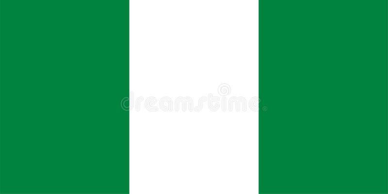 Vector flag of Nigeria. Proportion 1:2. Nigerian national flag. Federal Republic of Nigeria. royalty free illustration